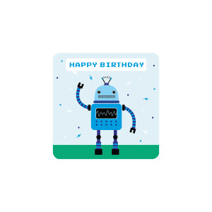 BLUESKY Birthday Robot Blue