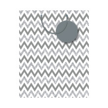GIFT WRAPPING PAPER MED Silver Chevron