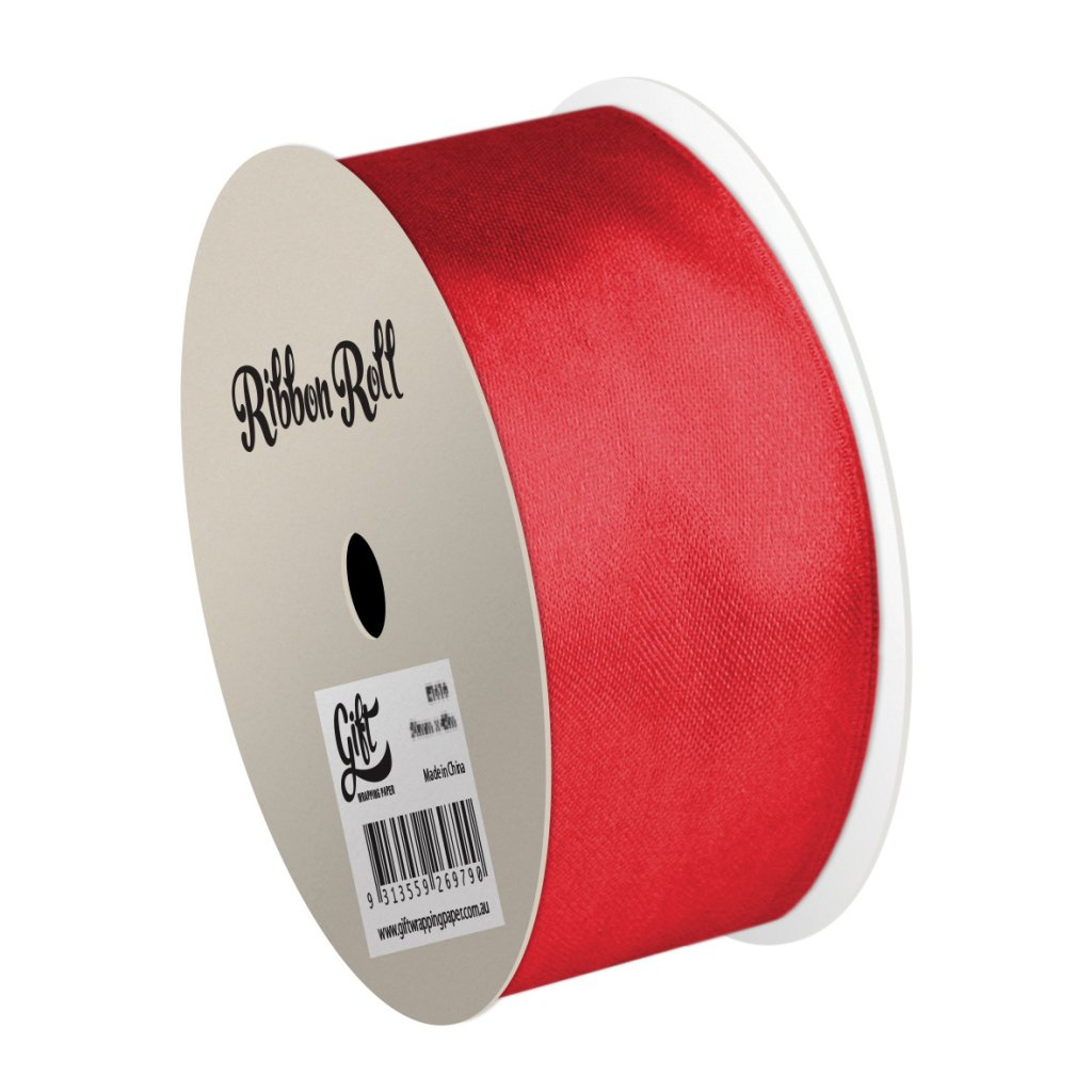 GIFT WRAPPING PAPER RIBBON RED ORGANZA RIBBON