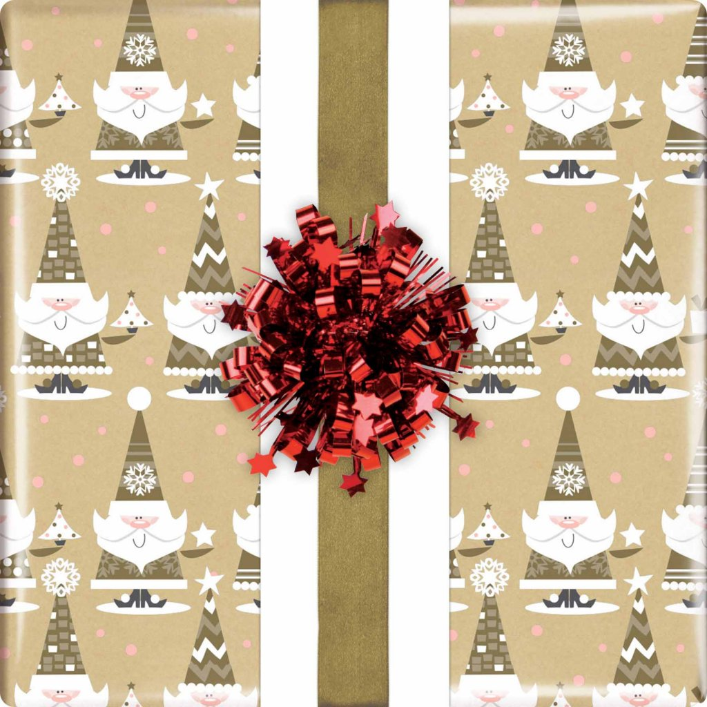 GIFT WRAPPING PAPER WRAP KRAFT SANTA VIS