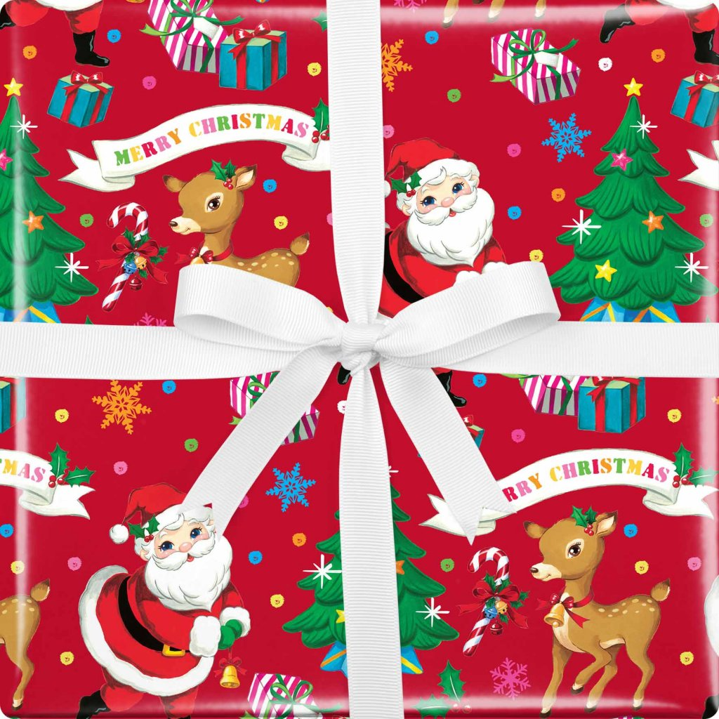 GIFT WRAPPING PAPER WRAP SANTA AND FRIENDS VIS