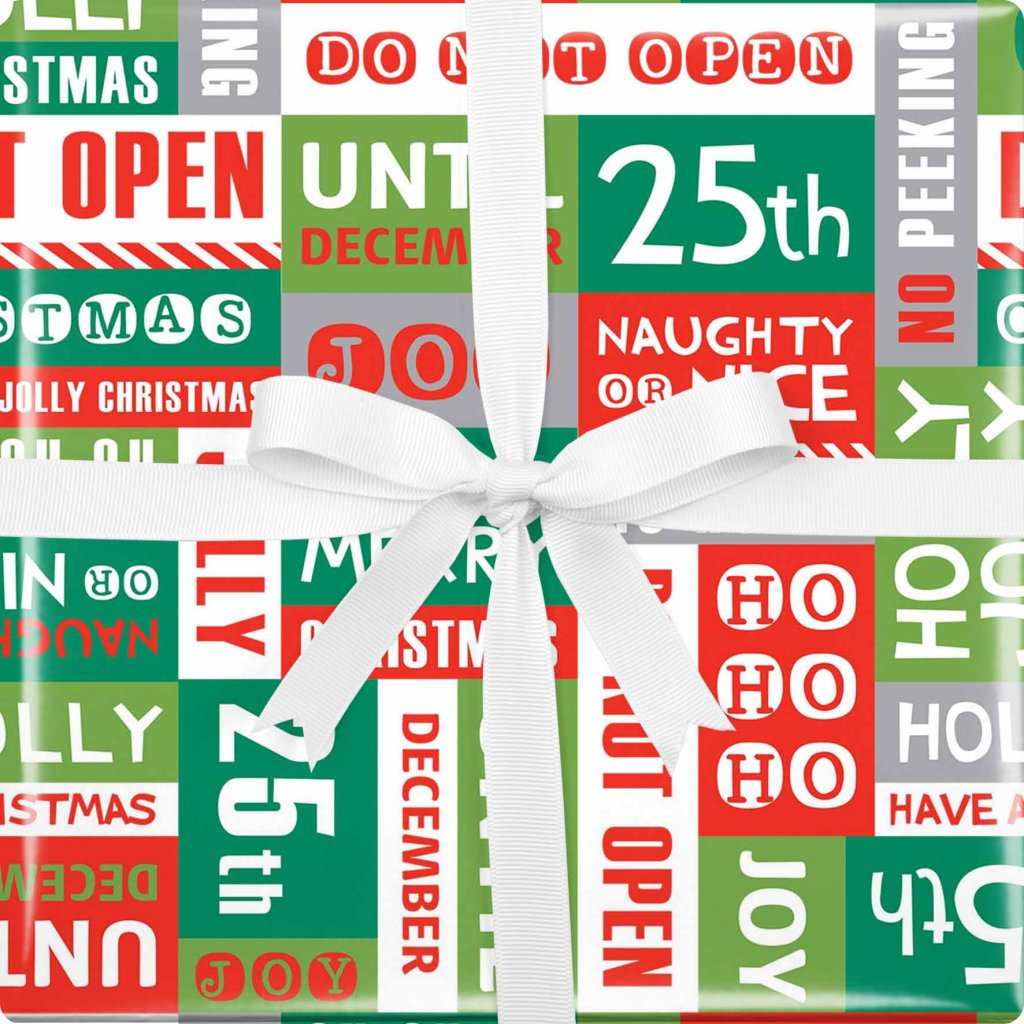 GIFT WRAPPING PAPER WRAP XMAS MIXED TEXT VIS