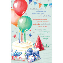 WHOLEHEARTEDLY A birthday wish cake balloons presents