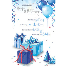WHOLEHEARTEDLY Happy Birthday Blue presents and balloons