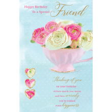 WHOLEHEARTEDLY Happy Brithday to a special friend teacup flowers