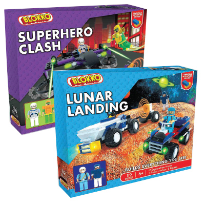 Blokko Large Block Kits: Superhero Clash, Lunar Landing