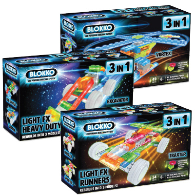 Blokko Light FX 3 in 1 Helicopters, Construction Vehicles and Race Cars