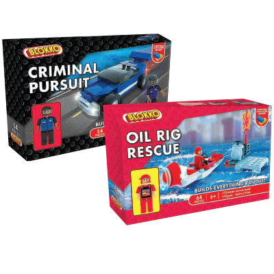 Blokko Medium Block Kits Criminal Pursuit and Oil Rig Rescue