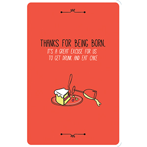 CARD CAKE AND WINE