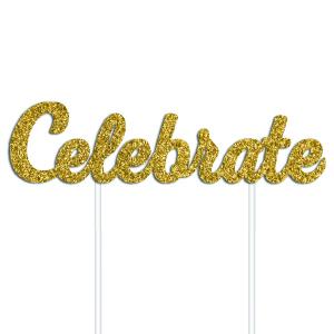 Celebrate Cake Topper - Gold