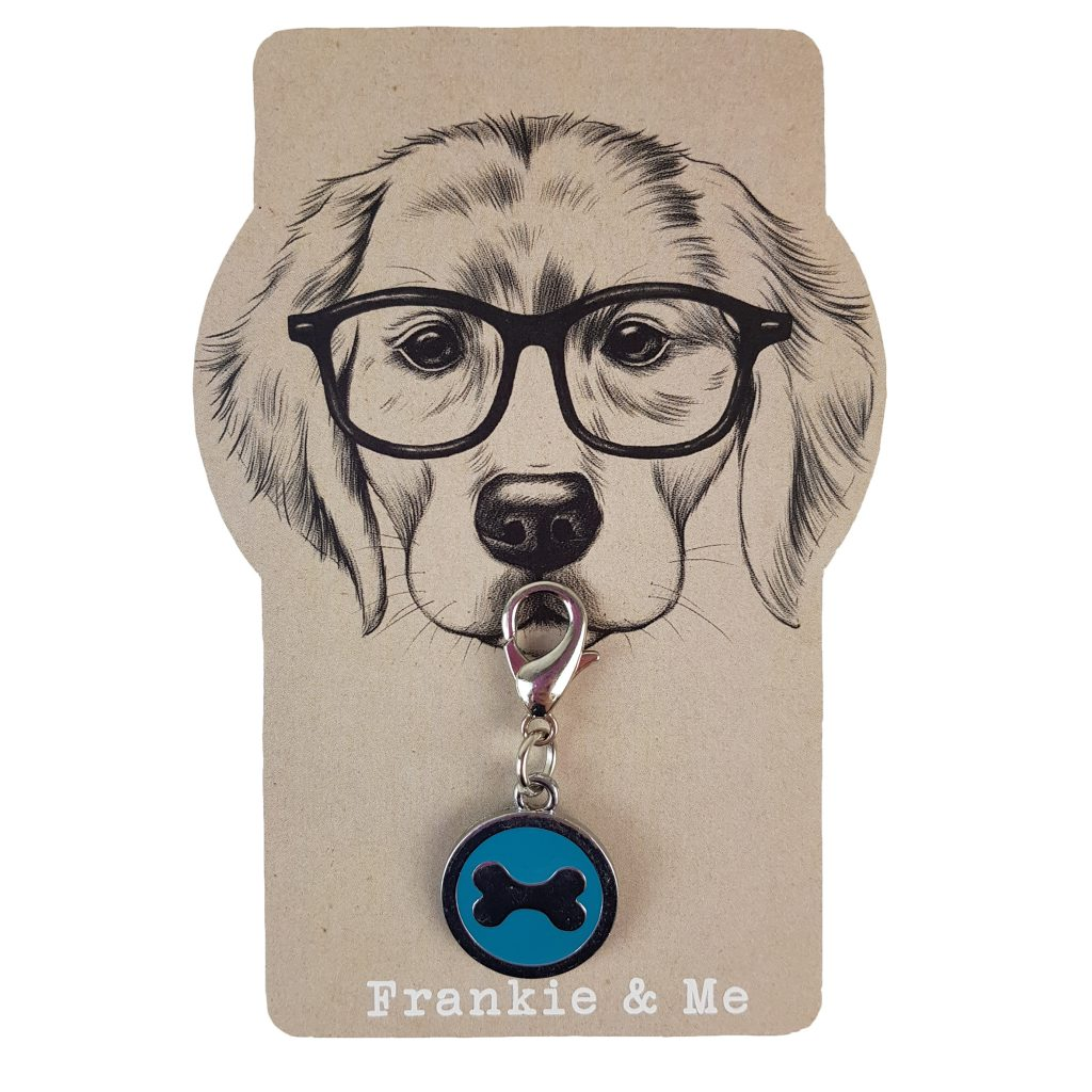 Frankie and Me Pet Accessories Blue Bone Collar Tag