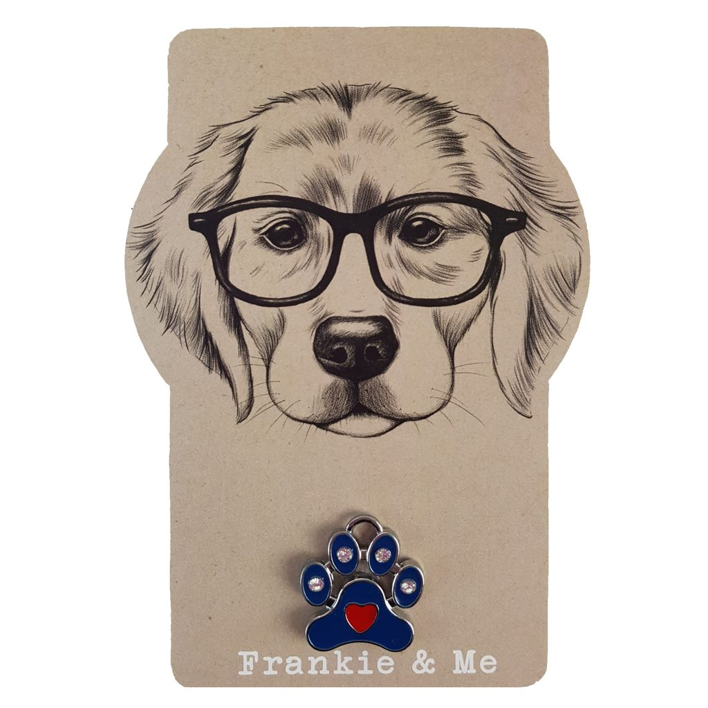 Frankie and Me Pet Accessories Blue Paw Print Collar Tag