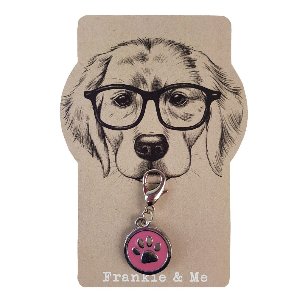 Frankie and Me Pet Accessories Pink Paw Collar Tag