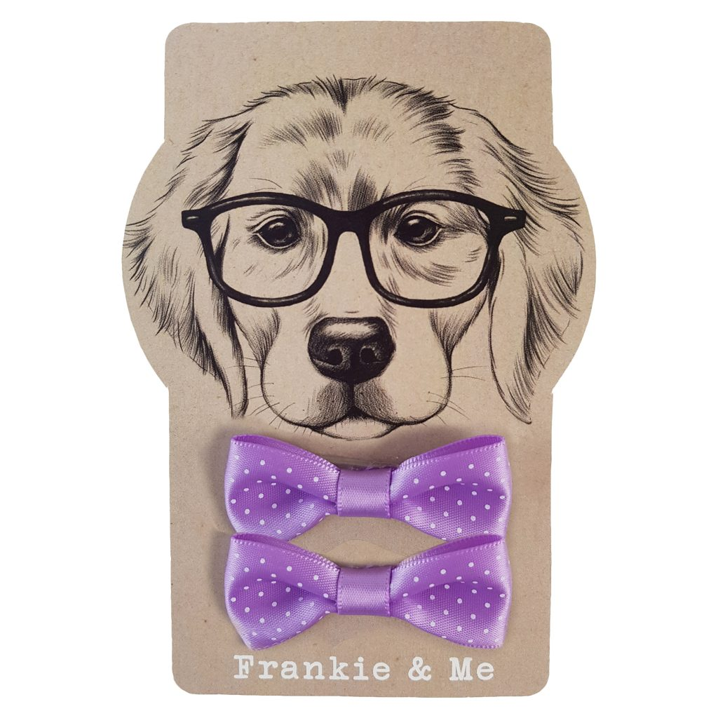 Frankie and Me Pet Accessories Purple Polka Dot Bows