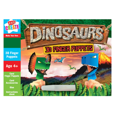 Kids Create DINOSAUR 3D FINGER CARD PUPPETS