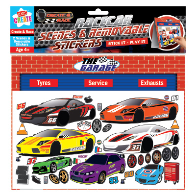 Kids Create RACE CAR MAKE A SCENE AND STICKERS