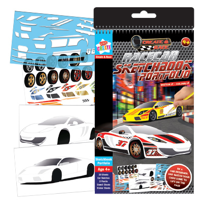 Kids Create RACE CAR SKETCHBOOK PORTFOLIO