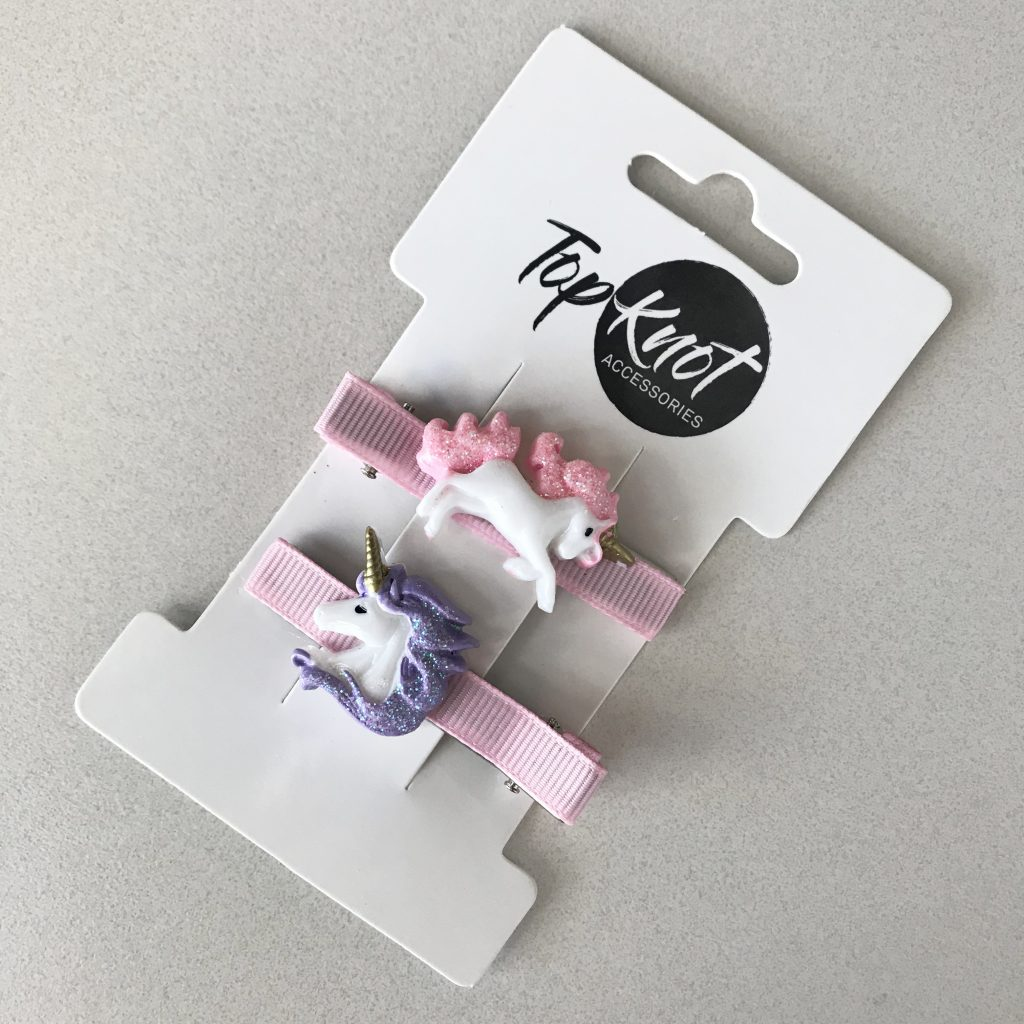 Top Knot Unicorn Ribbon Clips
