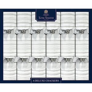 XAHTS2901 Silver & White Christmas Deluxe Crackers