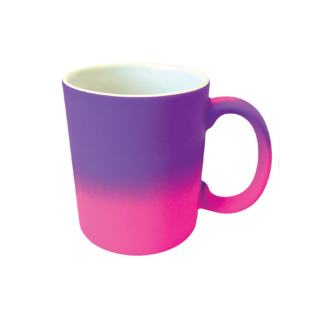 frankie and me Premium Soft Touch Ombre Pink Light Purple Mug