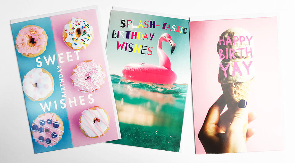 Snapshotz 3x Summer Cards, Donuts, Inflatable Flamingo, Ice Cream